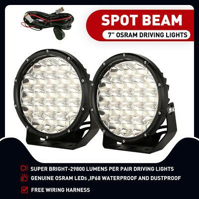 7inch 98000W Cree Spot LED Driving Lights Spotlights Offroad 4x4 Black Work HID