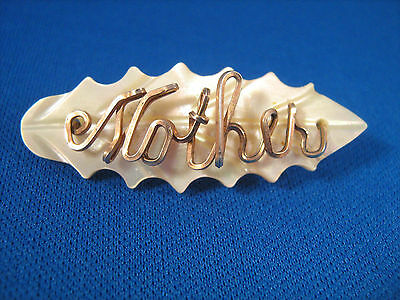 Vintage Mother brooch Gold Filled and Mother of Pearl jewelry pin