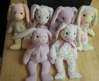 Ty Lot of 6 Easter Holiday Rabbit Beanie Babies