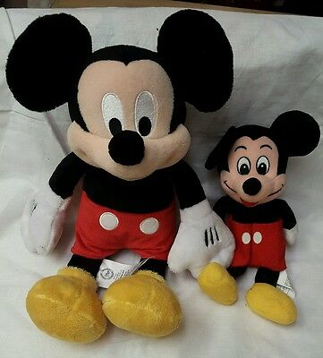 "Lot of 2 MICKEY MOUSE Plush  DISNEY STORE. GENUINE AUTHENTIC ORIGINAL.  14"" & 9"""