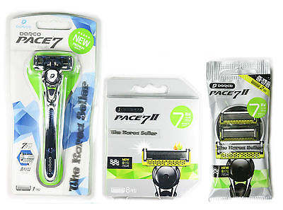 Dorco Pace 7 World's First Seven Blades System Razor + 6/8/10 Refill Cartridges