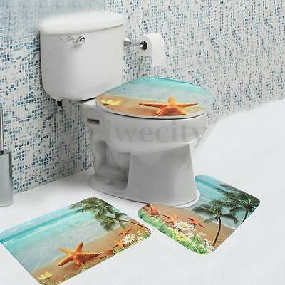 3Pcs Sun Of Beach Bathroom Toilet Non-slip Pad Floor Rug Carpet Pedestal Lid Mat