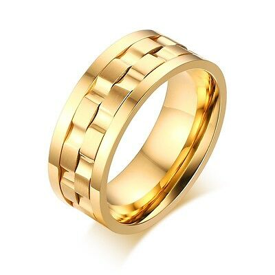 Silver Gold 9MM Stainless Steel Spinner Ring Titanium Wedding Band Sz 6-13