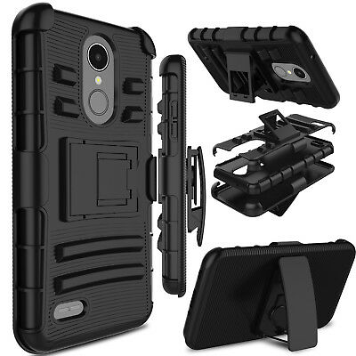 For LG Phone Hybrid Rugged Armor With Kickstand 180° Swivel Belt Clip Case Cover