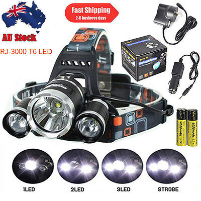 BORUiT 13000LM 3xXM-L T6 LED Headlamp USB Headlight Hunting Light Big Head Torch