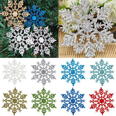 12Pcs Glitter Snowflake Christmas Xmas Tree Ornaments Hanging Decoration Decor