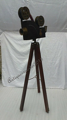 Vintage Nautical Brown Wooden  Decorative Projector With Tripod Replica