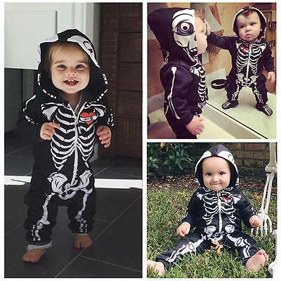 Kids Baby Boys Girls Infant Romper Jumpsuit Bodysuit Skull Hooded Clothes Outfit