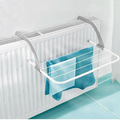 Compact Utility Clothes Airer Radiator Indoor Drying Rack Rail Balcony Hanging
