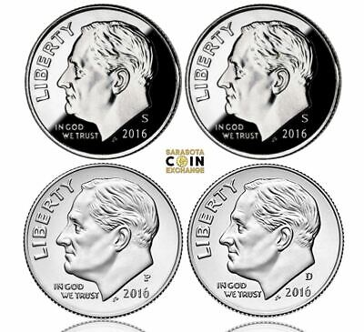 2016 S,S,P,D 10C Roosevelt Dimes Update Set All 4 in Sale Silver,Clad,PD