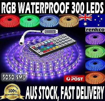Waterproof 5050 RGB 5M 300 LEDs SMD LED Strip Lights 12V + 44 Key IR Controller