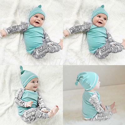 Newborn Baby Boys Girl Long Sleeve Tops +Long Pants Hat Outfits 3PCS Set Clothes