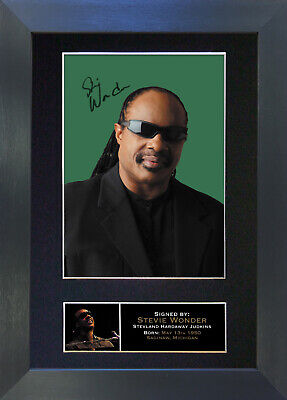 STEVIE WONDER Signed Mounted Autograph Photo Prints A4 150