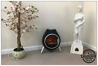 Black Modern Egg Shaped Free Standing Flame Effect Electric Fire 900w / 1800w