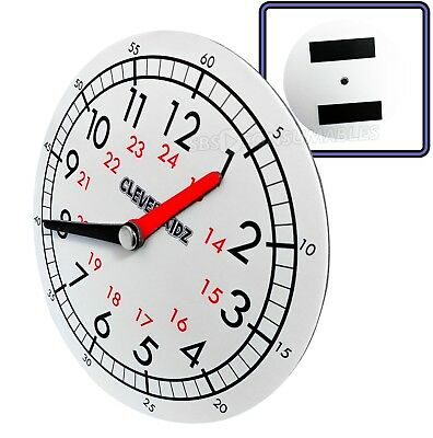 Children's Teaching Clock Learning To Tell Time Educational Magnetic Back- White