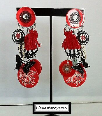 Boucles d'oreilles lol Clips Rouge Pompon Nacre Nouvelle Collection