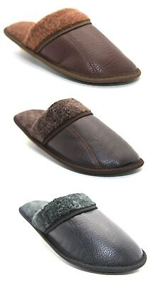 Mens Slip On Warm Indoor Microsoft Leather Look Slippers