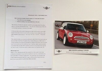 World Debut Mini Cooper Press Release. Collectable Item Pr0202
