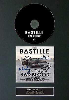 BASTILLE All This Bad Blood Album Signed CD Mounted Autograph Photo Prints A4 31