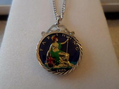 Vintage Enamelled Farthing Coin 1906 Pendant & Necklace. Christmas Birthday Gift