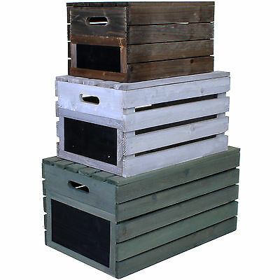 Wooden Crate Vintage Rustic Farm Shop Storage Box Crates Lid Fruit Apple Display