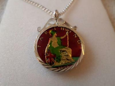 Vintage Enamelled Farthing Coin 1909 Pendant & Necklace. Christmas Birthday Gift