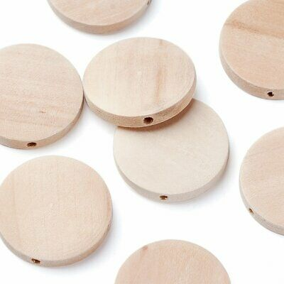 10pcs Natural Wood Wooden Beads Lead Free Flat Round Moccasin 25x5mm Hole 2mm