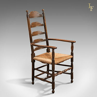 Antique Elbow Chair, Victorian Ladderback Dining Carver, English Oak, Country