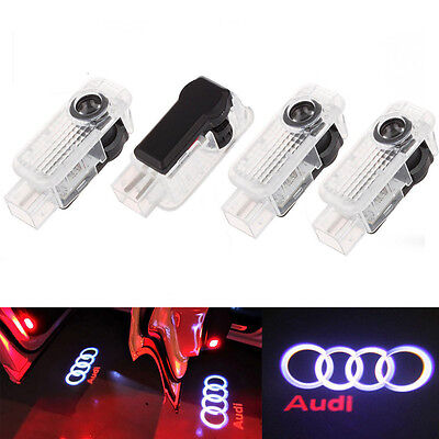 4 LED Logo Light Shadow Projector Car Door Courtesy Laser Fits Audi A4 A6 A8 Q7