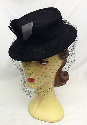 40s Dramatic Original Black Hat with Unique Face Veil and Coloured Feathers .
