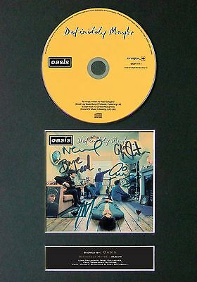 OASIS Definitely Maybe Album Signed CD Mounted Autograph Photo Prints A4 45