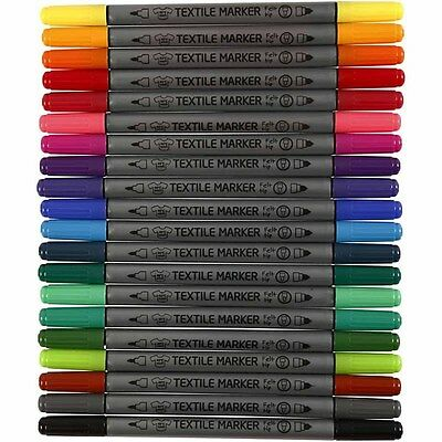 Fabric Marker Pens Permanent Textile Paint - Double Tip Fine Medium - 20 Colours
