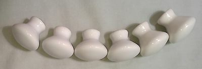 6 Vintage Porcelain Cabinet Knobs Drawer Pulls