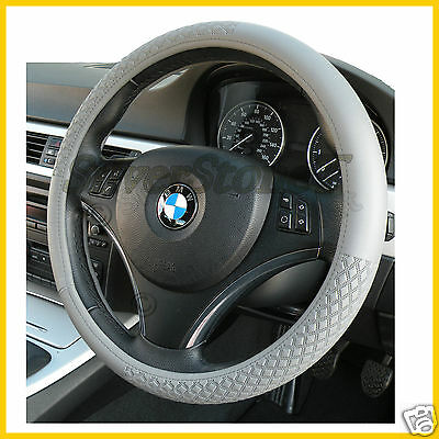 Steering Wheel Cover Luxury Faux Leather Grey