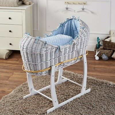 Blue Dimple White Wicker Moses Basket Pod And White Rocking Stand