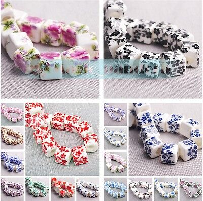 New Charms 10/50pcs 10mm Flowers Pattern Ceramic Porcelain Loose Spacer Beads