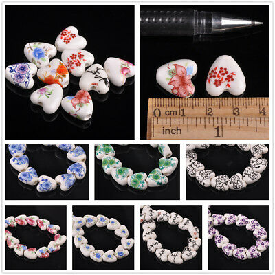 10/50pcs 14mm Heart Ceramic Porcelain Loose Spacer Big Hole Beads Mixed Colors
