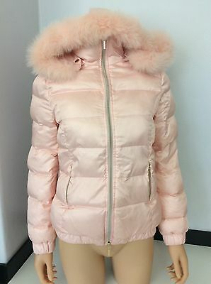 MISS GRANT pink Padded Coat Jacket Fur Hood Gold Studs Age 12 158/164