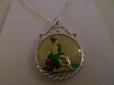 Vintage Enamelled Farthing Coin 1908 Pendant & Necklace. Christmas Birthday Gift