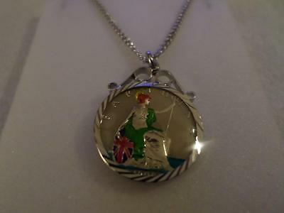 Vintage Enamelled Farthing Coin 1900 Pendant & Necklace. Christmas Birthday Gift