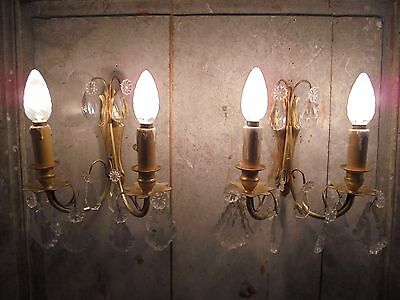 French a pair of divine antique  wall light bronze brass crystals droplets