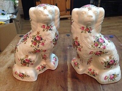 Pair Of Floral Staffordshire Ironstone China Dogs Book Ends Vintage Lovely Cond