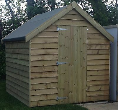 8x6 Wooden Garden Shed, Overlap Apex Extra Strong Cladding, Pressure Treated.