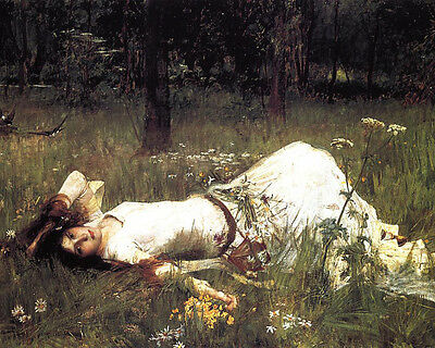 Waterhouse Ophelia Woman In Forest Landscape Flowers Painting Canvas Art Print