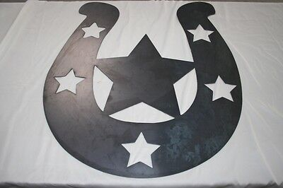 ",24"" Horseshoe Star Steel Cutout Sign Plaque Home Decor Texans"