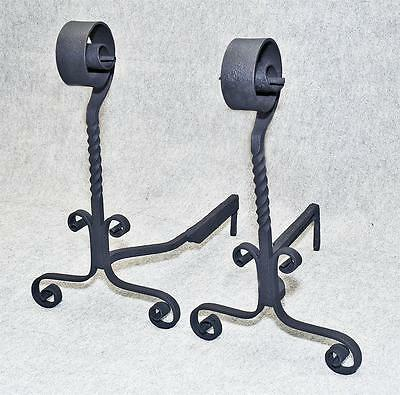 ARTS & CRAFTS Andirons MASSIVE vintage Spanish MISSION Wrought Iron circa 1910