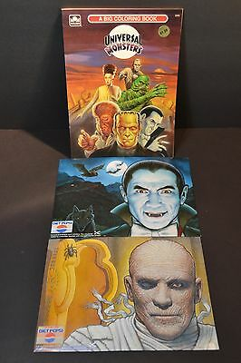 A BIG COLORING BOOK Universal Monsters 1991 Golden Book New + 2 Monster Spotters