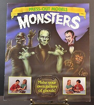 Rare 1993 Press-Out Models MONSTERS  FRANKENSTEIN DRACULA MUMMY WEREWOLF New