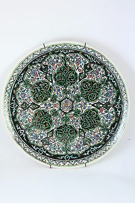 "Vtg Guven Cini Kutahya Islamic Art Pottery Decorative 12"" Charger Plate Signed"