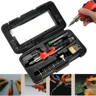 HS-1115K 10in1 Professional Soldering Iron Butane Gas Set Welding Kit Torch